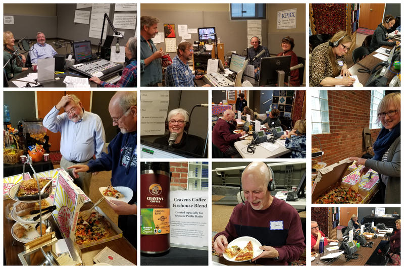 Tuesday afternoon's volunteers were fueled by Pizza Rita as the pledges kept on coming in.