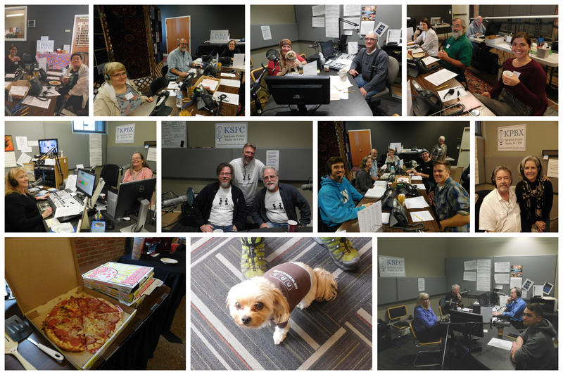 Day three of the 2018 Fall Pledge drive we had lots of great volunteers, pizza from Pizza Rita and even a visit from our resident NPR Newshoud, Itsy!