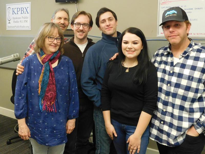 (from left) Robbie Starnegg, Verne Windham, Henry McNulty, Jonah Taylor, Elizabeth Martin, and Jake Schaefer in the KPBX studio.