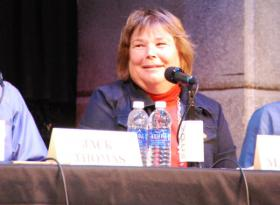 Cindy Matsumoto at the KPCW Park Record 2013 Election Forum in October.