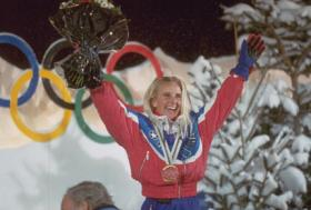 Donna Weinbrecht at the 1992 Winter Olympic Games in Albertville, France.