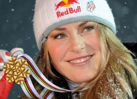 Lindsey Vonn and her two gold medals of the FIS Alpine Skiing World Championships at Val d'Isere.