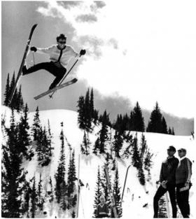 "Skier Jack Thomas (doing the ""cat out the window"" trick), Jim Gaddis and Alf Engen"
