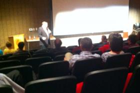 Jim Dabakis at Park City High's lecture hall.