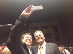 Vail CEO Rob Katz takes a selfie with his Follies counterpart, Craig Sanchez.