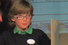 Stryder Larsen at the National Geographic Bee.