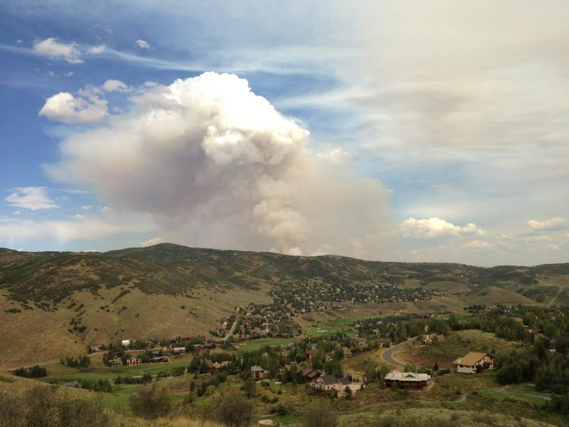 As viewed from Jeremy Ranch at about 5PM Tuesday