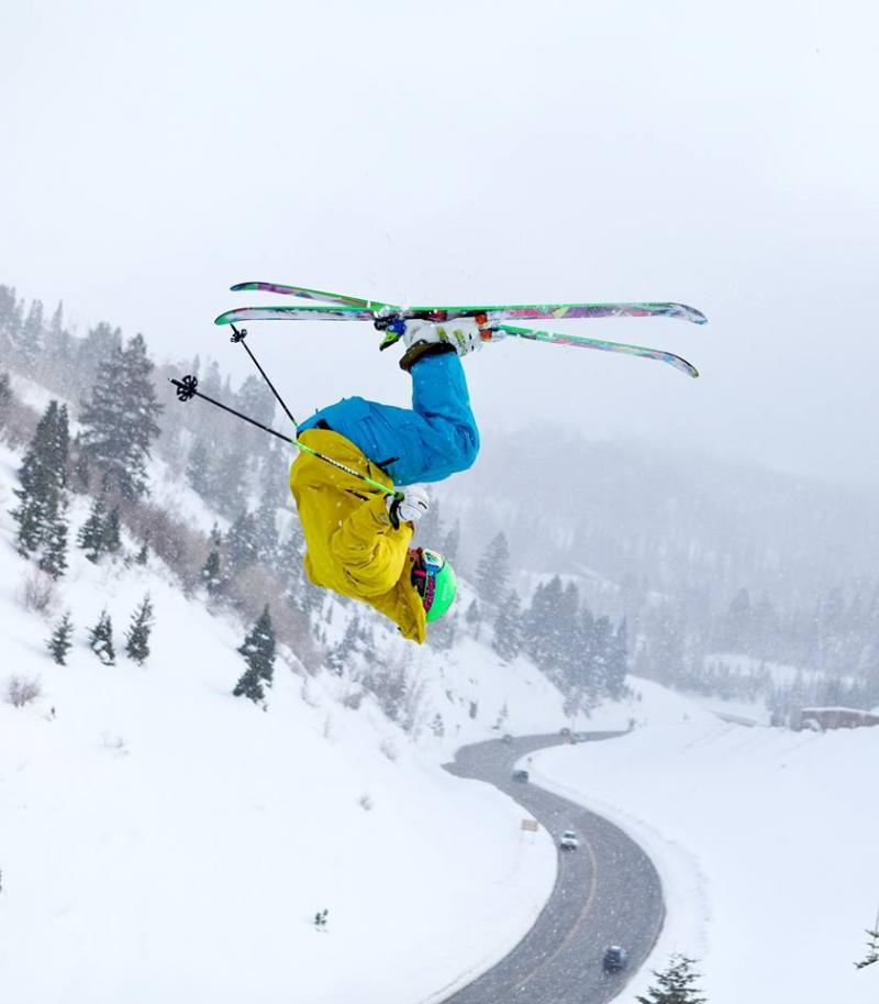 One more of Mr. Ted Ligety, jumping over the road to Deer Valley!