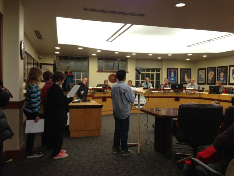 Parley's students asking the Mayor and Council for a proclamation Thursday night.