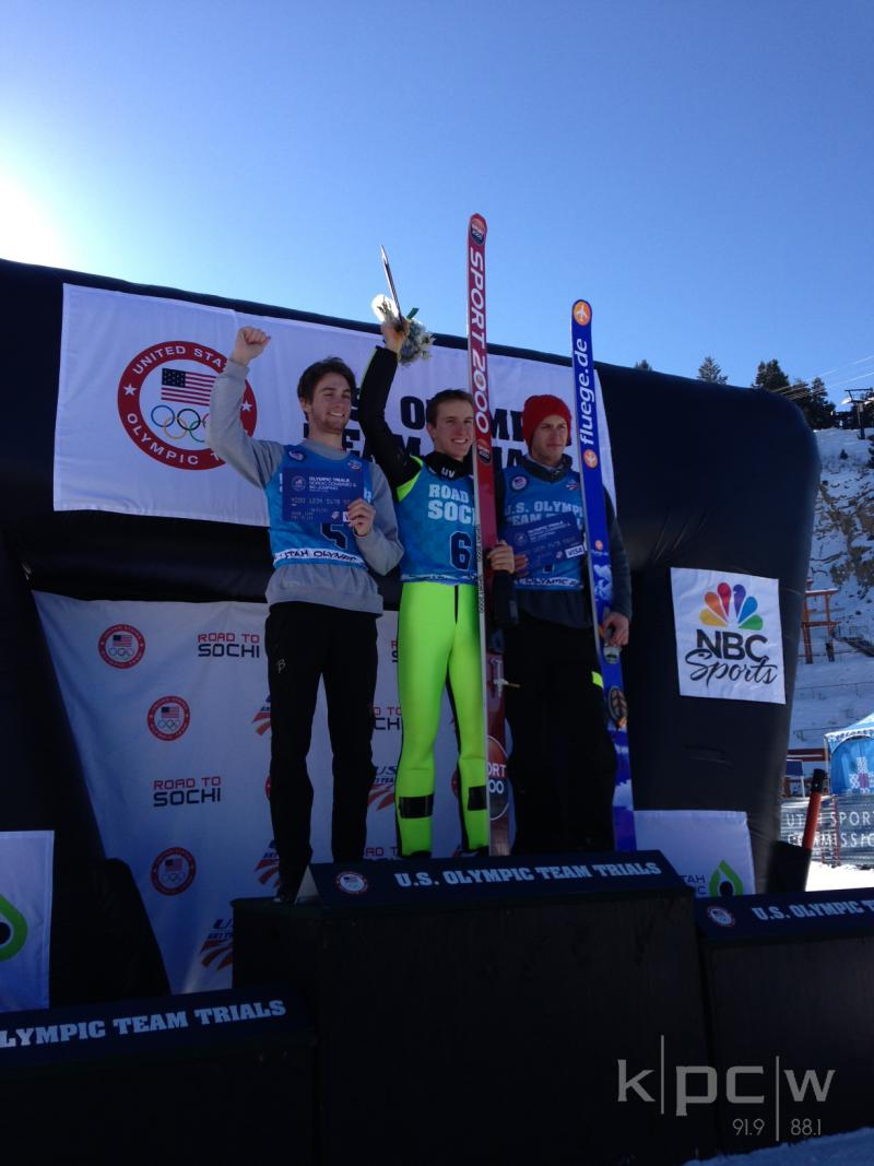 (L-R) Peter Frenetti, Nicholas Fairall and Anders Johnson after the mens ski jumping event. They placed third, first and second, respectively.