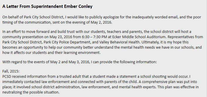 School Superintendent Posts Letter of Apology KPCW