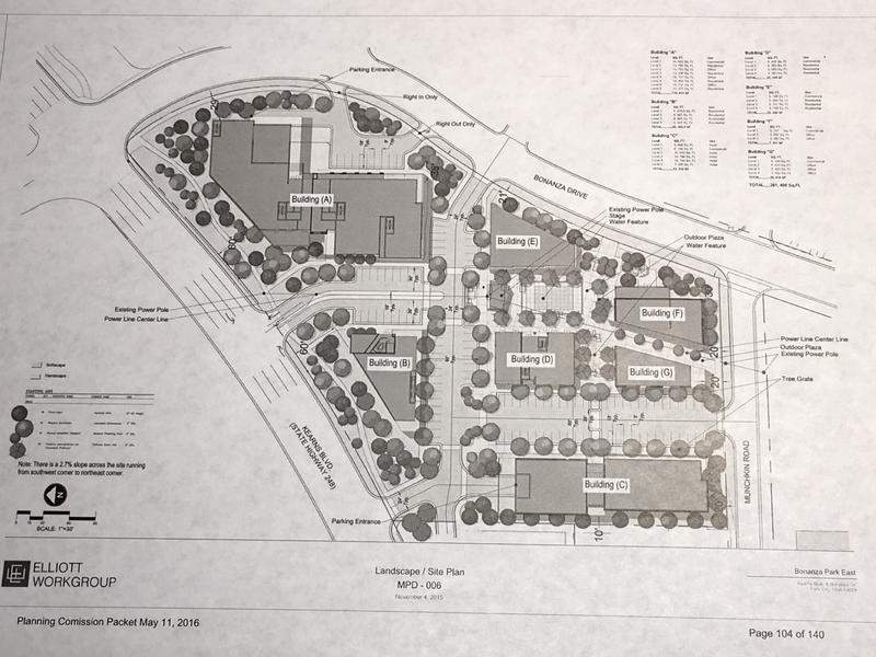 The proposed site plan for Bonanza East, as presented to the Park City planning commission in May