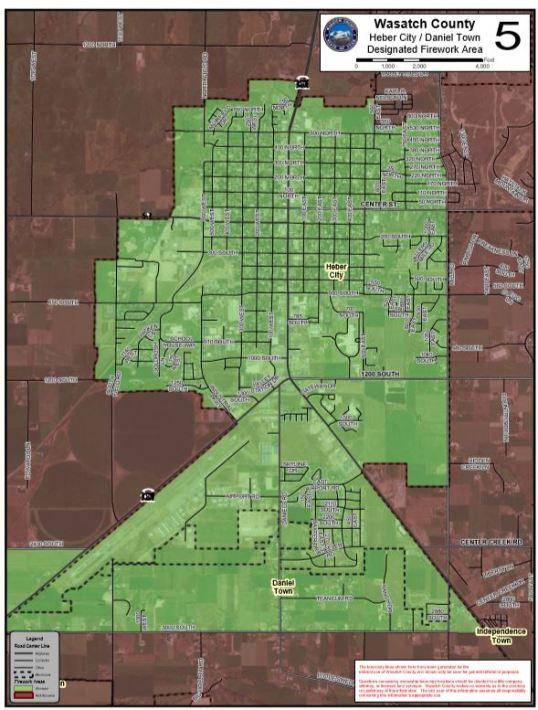 The areas in green show where fireworks are allowed in Heber City and Daniels