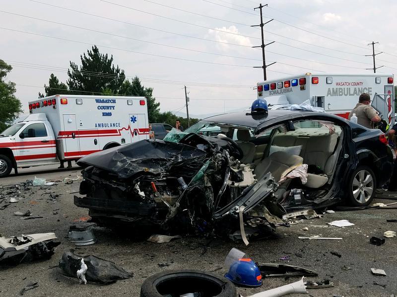 Utah Highway Patrol says this Subaru Legacy was hit by a Range Rover on Highway 40