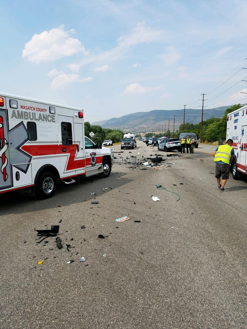 The scene of Saturday's multi-vehicle accident that shut down Highway 40 at 3:15pm