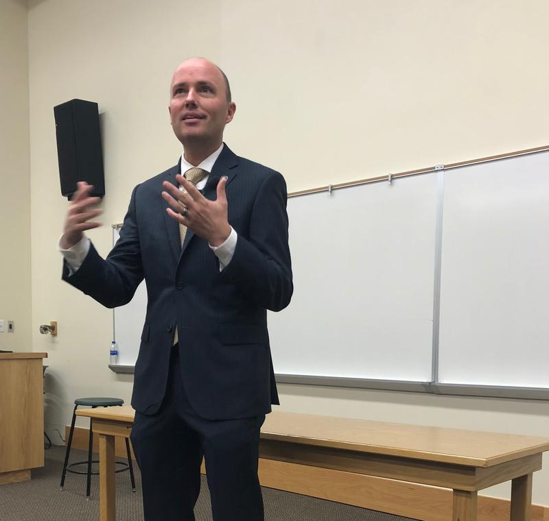 Utah Lt. Governor Spencer Cox speaks with high school students in the Wasatch CAPS program.