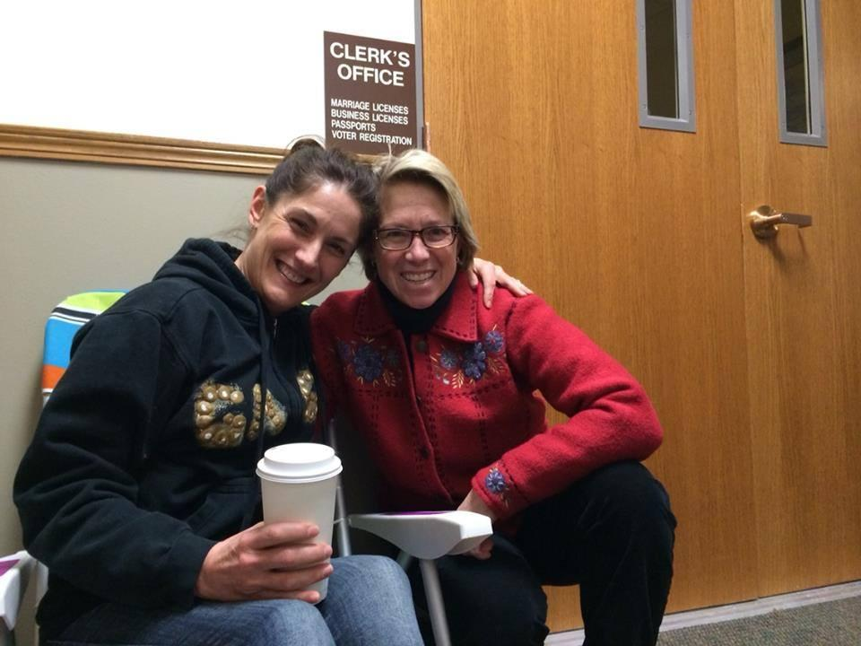 Park City residents Patrice Martin and Jamie Grundstrom received the first  marriage license this morning.