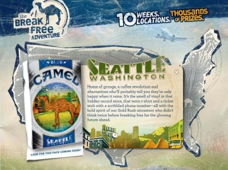 "Camel ""Break Free Adventure Campaign"" ad featuring Seattle"