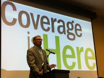 Governor Jay Inslee spoke at a recent event promoting the state's new health insurance exchange.