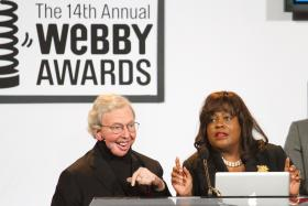 "- This June 14, 2010 file photo shows film critic Roger Ebert, left, alongside wife Chaz Hammelsmith, accepting the ""Person of the Year"" Award at the 14th Annual Webby Awards in New York."
