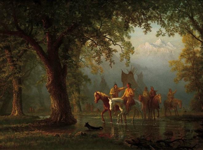 Albert Bierstadt, Departure of an Indian War Party, 1865