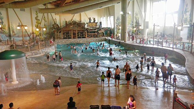 Families play in the wave pool at Great Wolf Lodge south Of Olympia.
