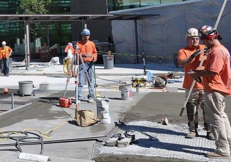 construction workers on site at the Bill and Melinda Gates Foundation