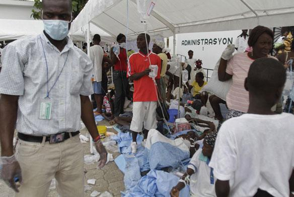 A UN relief effort is mobilizing against the cholera outbreak that has killed dozens of Haitians in the past few days. The outbreak is spreading. This scene is a camp outside Port au Prince.