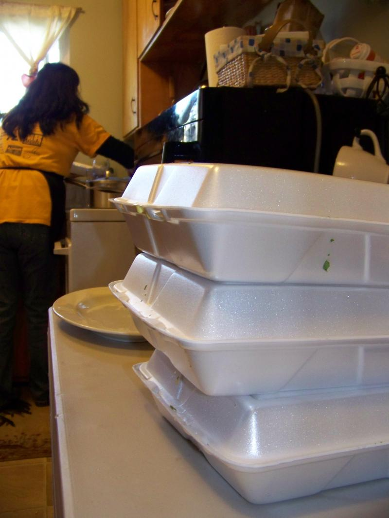 After they ate, many guests hauled home containers filled with additional meals for later