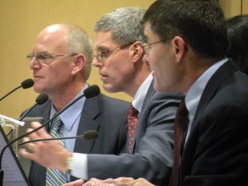 Seattle School board members (left to right) Michael DeBell, Steve Sundquist and Peter Maier, pictured here earlier this year. The board voted 6-1 last night to approve a contract with