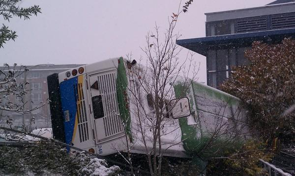 No one was seriously injured in this Pierce Transit bus accident near the UW Tacoma campus. Twenty were on board when the bus slid down a slick hill near 19th & Jefferson.