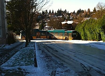 One of the 200 Metro buses abandoned during Monday's storm. This one is at Glenn Way SW and SW Oegon near the West Seattle Junction.