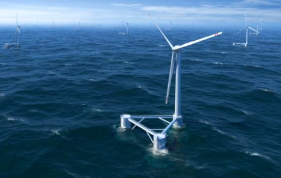 Rendering of a floating offshore wind farm.