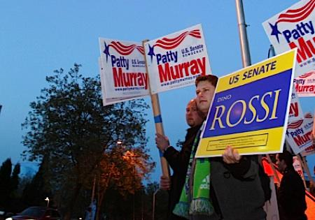 Supporters of Dino Rossi and Patty Murray, outside a Seattle TV studio on October 21, 2010, where the candidates held a debate.