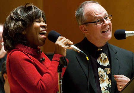 Gail Pettis and Dr. David Deacon-Joyner perform at the KPLU Christmas Jam