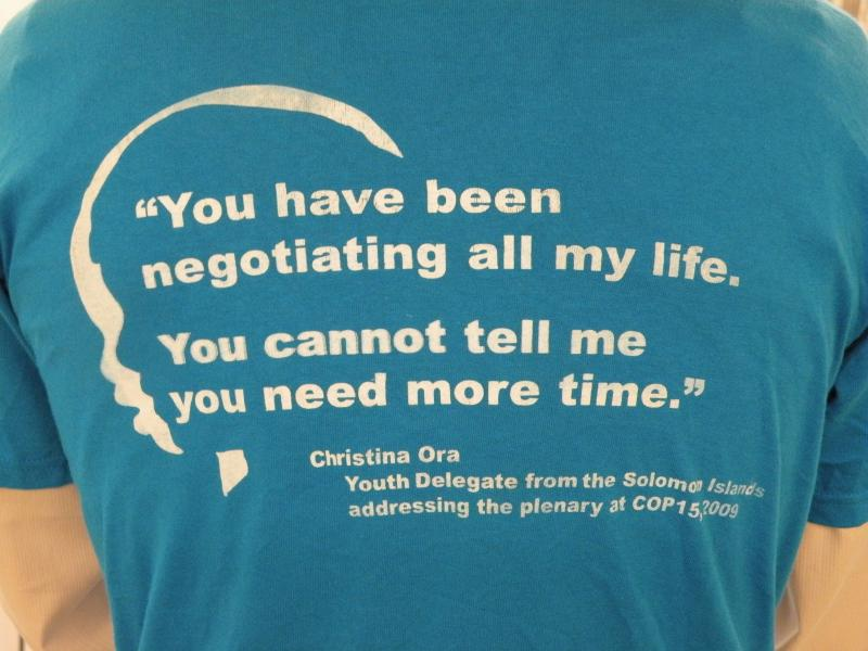 Student activists in Cancun wear a t-shirt that speaks volumes