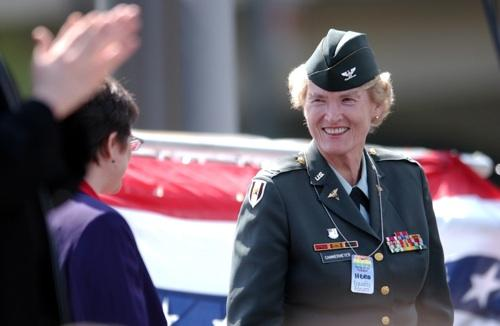 "Retired Army Col. Margarethe Cammermeyer, of Langley, Wash., is a decorated Vietnam vet who challenged the military's policy on gays in 1991, is shown here in Philadelphia in May 2005. Cammermeyer celebrated the end of ""Don't Ask, Don't Tell"" on Saturday."