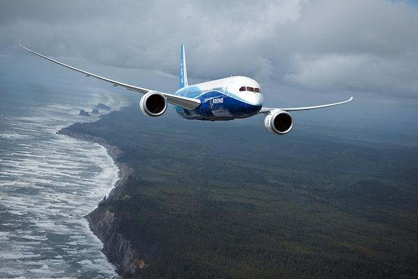 "The 787 Dreamliner in flight, from Edgar Turner's book, ""The Birth of the 787 Dreamliner."""