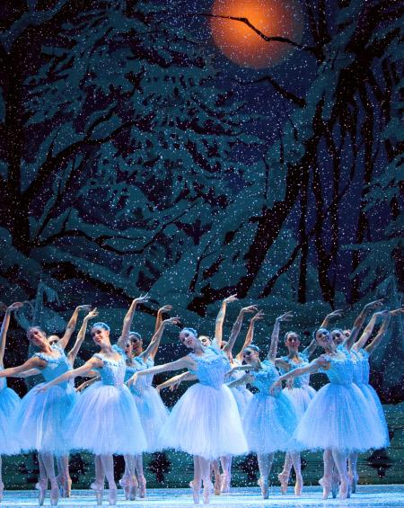 "Pacific Northwest Ballet dancers in the Snow scene from the ""Nutcracker"" ballet"