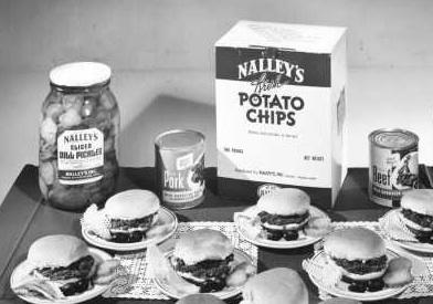 A spread of Nalley's top products for a 1949 advertising campaign. Nalley Foods was famous around the northwest for its potato chips and pickles. The brand name lives on as the local company fades away.