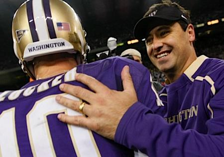 Washington coach Steve Sarkisian and quarterback Jake Locker helped lead the Huskies to their first bowl appearance in 8 years, a trip to the Holiday Bowl in San Diego.