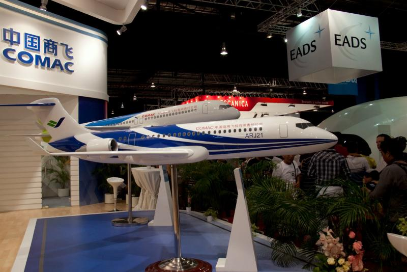 Model jetliners from the Commercial Aircraft Corporation of China (COMAC) were centerstage at teh Singapore Airshow 2010.