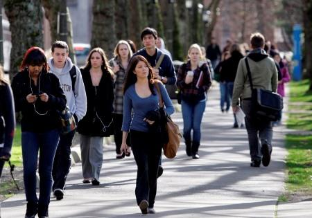 University of Washington students are shown here on campus earlier this year. A new group seeks to harness the political power of UW alumni, in time for the state legislature's January buget-cutting session.