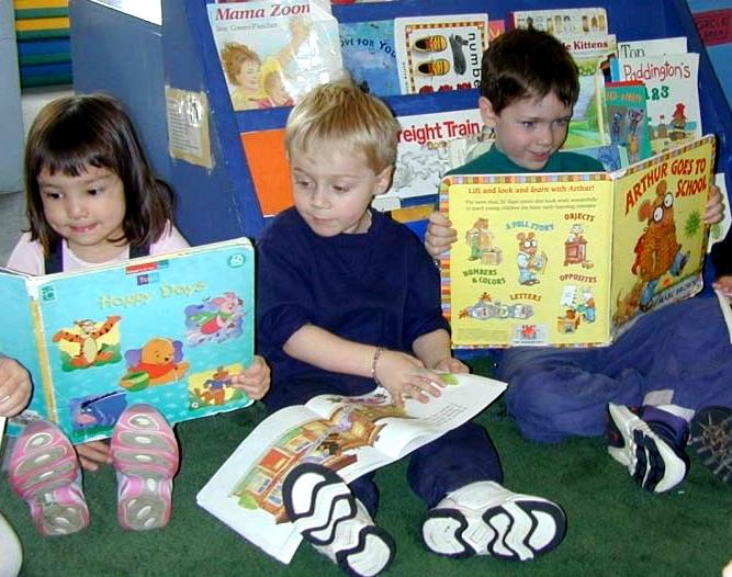 Kids read at a preschool program in Seattle