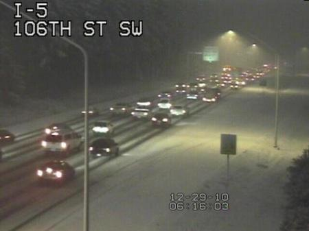 This Everett area photo is from a WSDOT camera, taken shortly after 6 a.m. Wednesday.