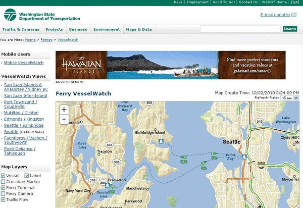 Banner Advertising on the Washington State Ferries Website