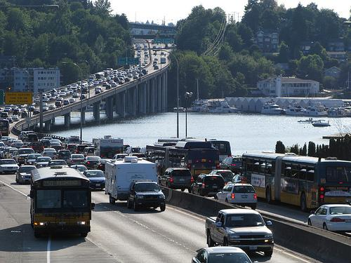Traffic on Highway 520 in Seattle's Montlake area