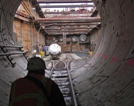 The east tunnel portal of the Brightwater treatment plant, under construction north of Woodinville. A 13-mile tunnel from the plant to Puget Sound is on its way to completion.