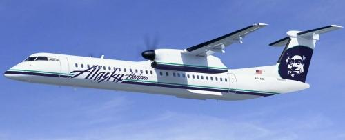 A Horizon Bombardier Q400 with the new Alaska logo