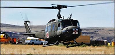 The US Army Air Ambulance Detachment (USAAAD) Huey at the Yakima Training Center
